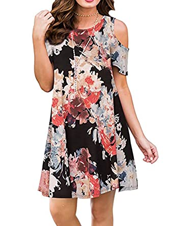 06d4dc02b91 CAIYING Women Casual Cold Shoulder Floral Print Sundress T-Shirt Dress with  Pockets (Black
