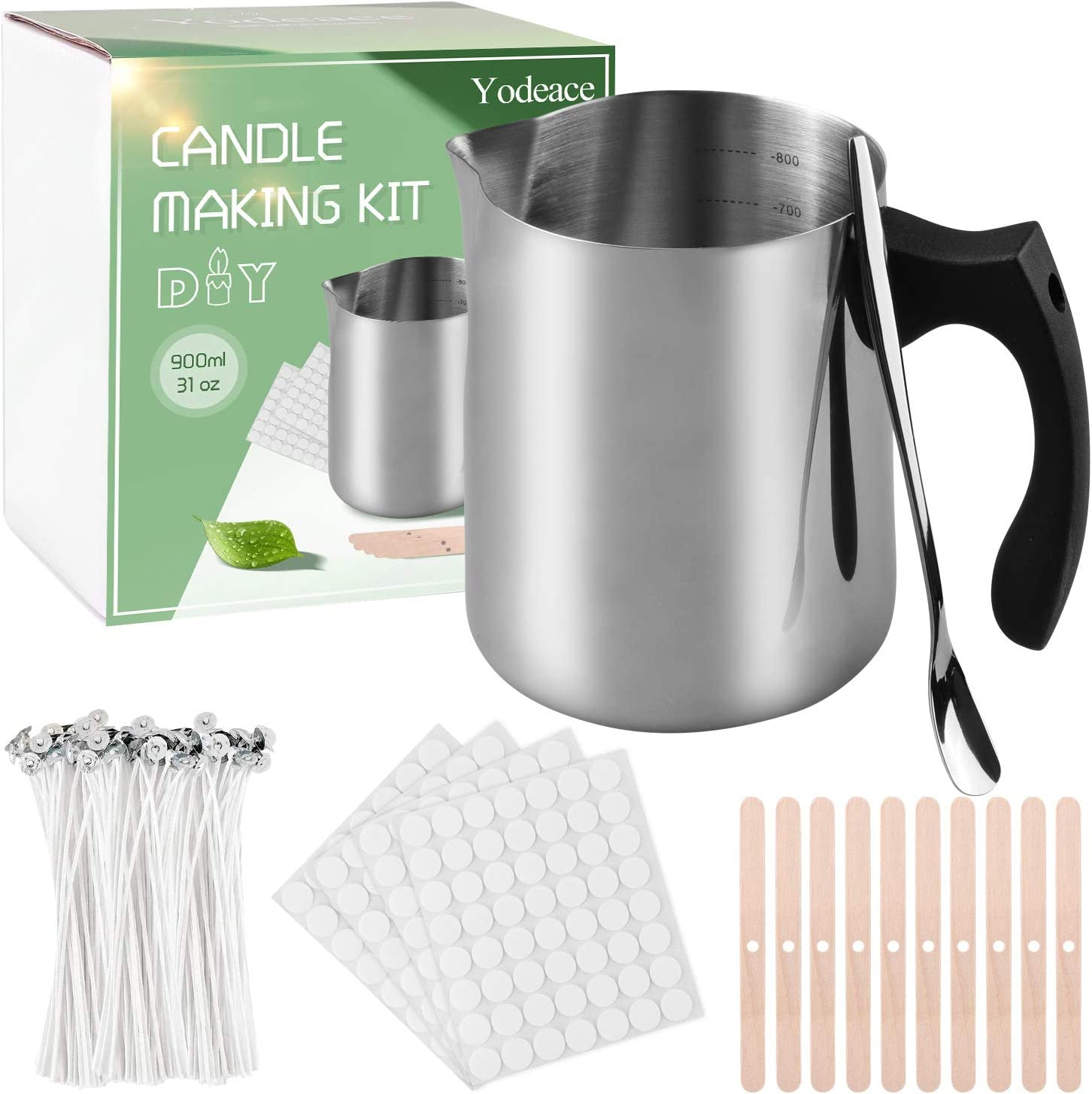 Yodeace Candle Making Kit,212pcs Candle Making Supplies Includes 31oz Candle Make Pouring Pot, Candle Wicks for Beginners Professionals