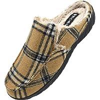 ONCAI Zapatillas de Casa para Hombre-Tartán Pantuflas Hombre de Invierno Memory Foam-Antideslizante Tweed Mocasines…