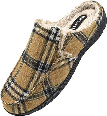 ONCAI Zapatillas de Casa para Hombre-Tartán Pantuflas Hombre de Invierno Memory Foam-Antideslizante Tweed Mocasines Zuecos Pantufla de Hombre con Suave Vellón-Lana Hombre Zapatos Intemperie