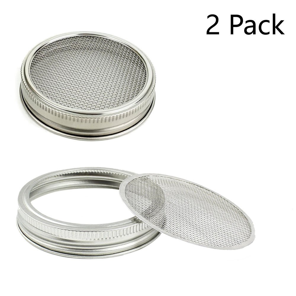 Stainless Steel Sprouting Stands, Sprouting Holder 32 oz Mason Jar Lid Holder. Used to Make Sprouts, Broccoli, Lentil Seeds. Also Used to Phone iPad Tablet Stand. Not Include Jar. White, 2 Pack OYOY