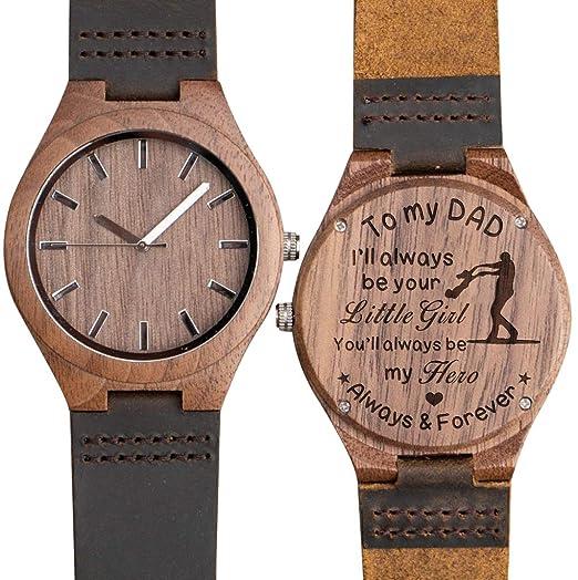 Reloj de Madera Grabado para Hijo, Padre, Novio, Novio, Regalo Personalizado para Padres, Padres, maridos, Aniversarios, Regalos para Hombres: Amazon.es: ...
