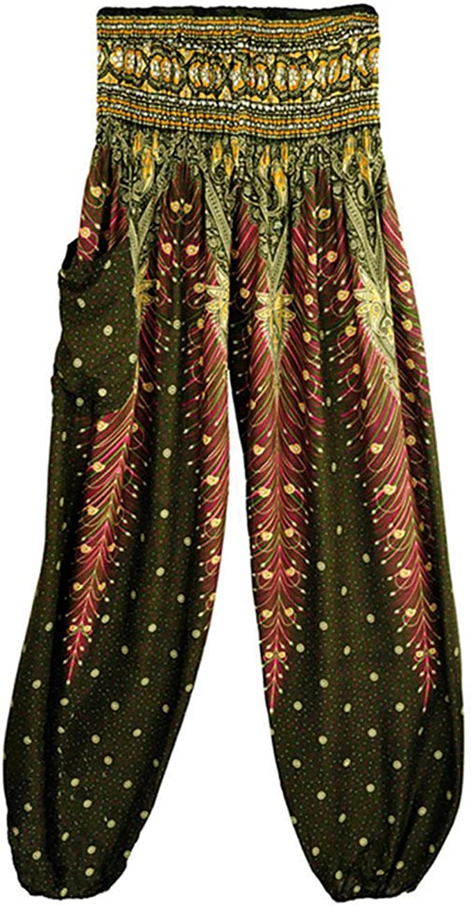 Leyorie Men Women Thai Harem Trousers Boho Peacock Hippy Smock High Waist Yoga Pants