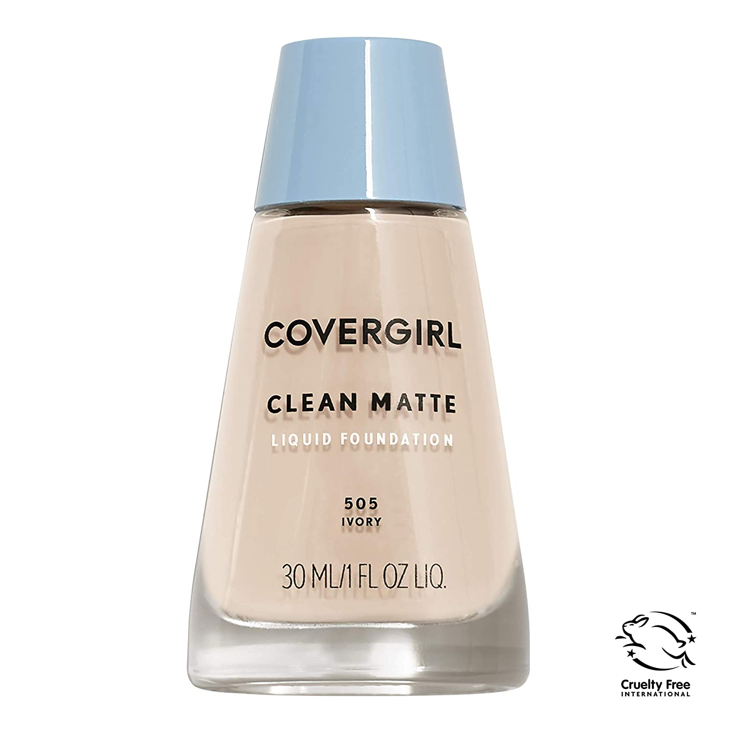 COVERGIRL, Clean Matte Liquid Foundation, Ivory 505, 1 oz, 1 Count (packaging may vary)