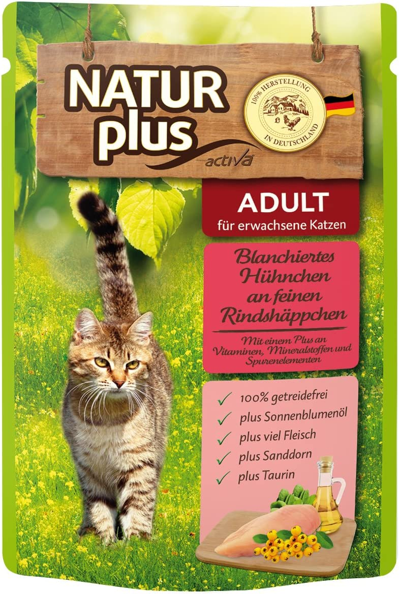 natural Plus gato Forro blanchiertes pollo en finas trocitos de vacuno, 6 x 85 g: Amazon.es: Productos para mascotas