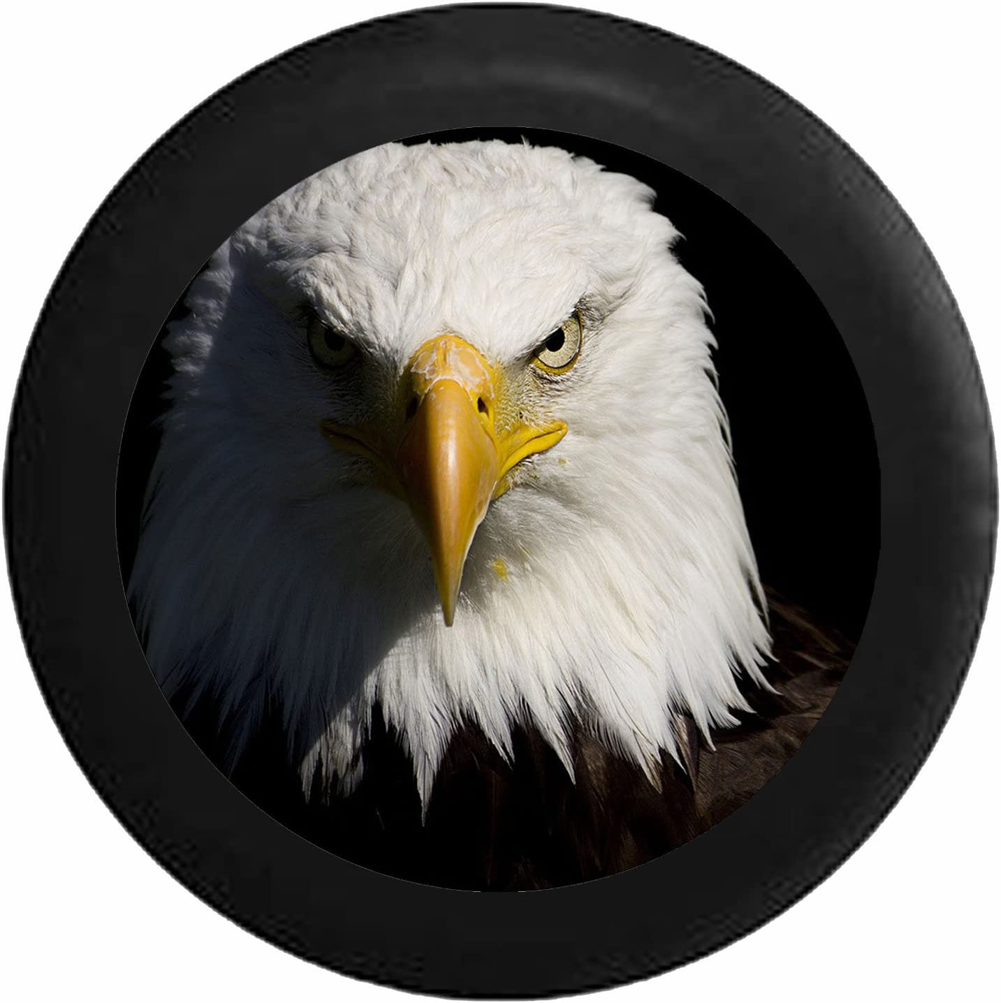 Pike Outdoors Full Color Staring American Bald Eagle Closeup Spare Tire Cover fits SUV Camper RV Accessories Black 26-27.5 in