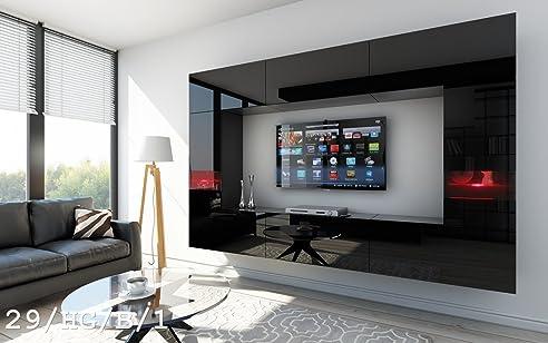 FUTURE 29 Wohnwand Anbauwand Wand Schrank TV Wohnzimmerschrank Wohnzimmer Hochglanz Weiss Schwarz LED RGB