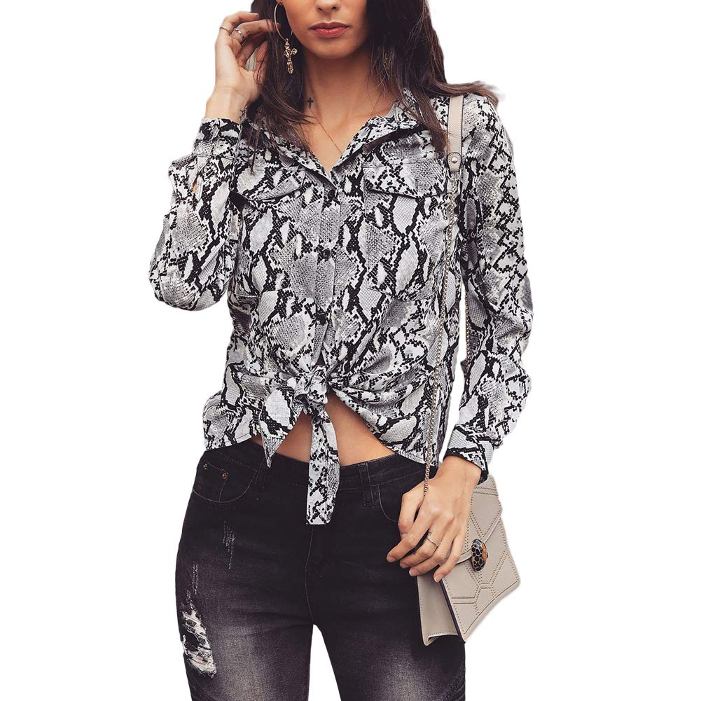 8dd80d59c89df8 Women Casual V Neck Long Sleeve Blouse Snakeskin Print Crop Top Tie Front  Blouse at Amazon Women s Clothing store