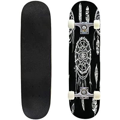 Classic Concave Skateboard Hand Drawn Illustration of Dream Catcher Native American Dream Longboard Maple Deck Extreme Sports and Outdoors Double Kick Trick for Beginners and Professionals : Sports & Outdoors