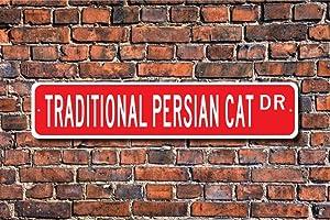 Tamengi Traditional Persian Cat, Traditional Persian Sign, Traditional Persian Owner Gift, Persian Cat Decor, Custom Street Sign, Quality Metal Sign