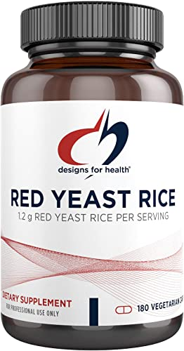 Designs for Health Organic Red Yeast Rice 1200mg Capsules – Certified Organic RYR Citrinin-Free 180 Capsules