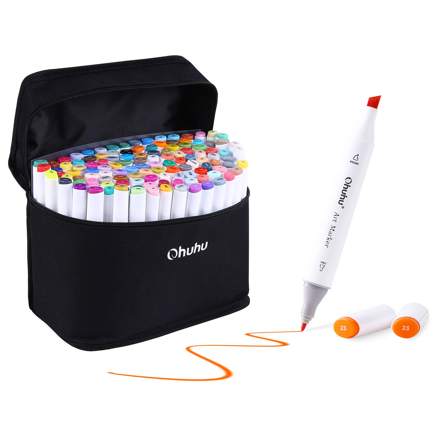 Ohuhu 120 Colors Dual Tips Sketch Marker Pens Art Markers Set with Carrying Case for Drawing Sketching Adult Coloring Books, Great Mothers' Day Gift Idea