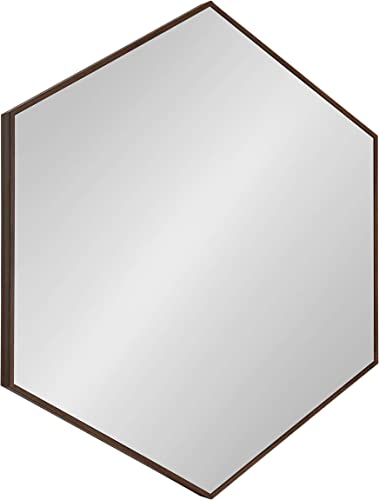 Kate and Laurel Rhodes 6-Sided Hexagon Framed Wall Mirror, 30.75×34.75, Walnut Brown