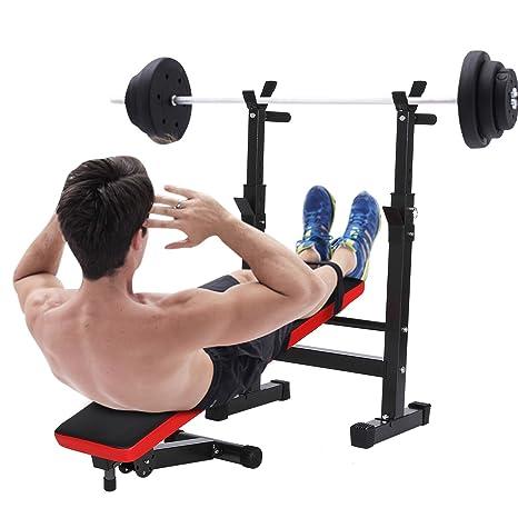 Banco de Pesas Maquina de Ejercicios de Musculación Fitness Plegable 5 Alturas Ajustables de Fitness Entrenamiento Abdominales para Interior Hogar Gimnasio ...