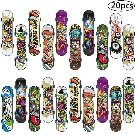 BETOY Monopatines para Dedos, 20PCS Mini Diapasón Patineta Skateboard Fingerboard Juegos de Deportes Niños, Recompensas por Lecciones Escolares (Color ...