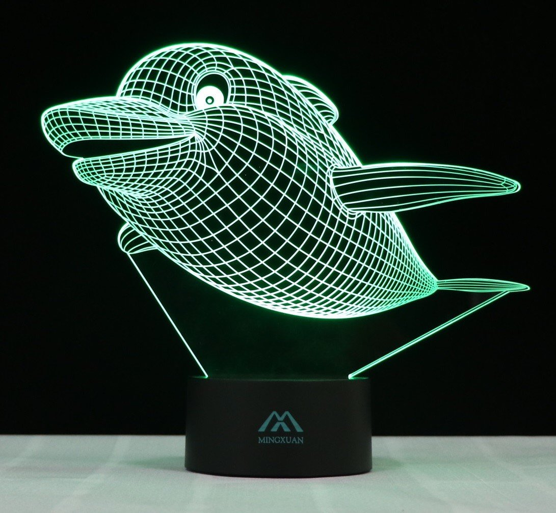 3D Illusion Night Light Dolphin 7 Color Touch LED Desk lamp 7 Color ...