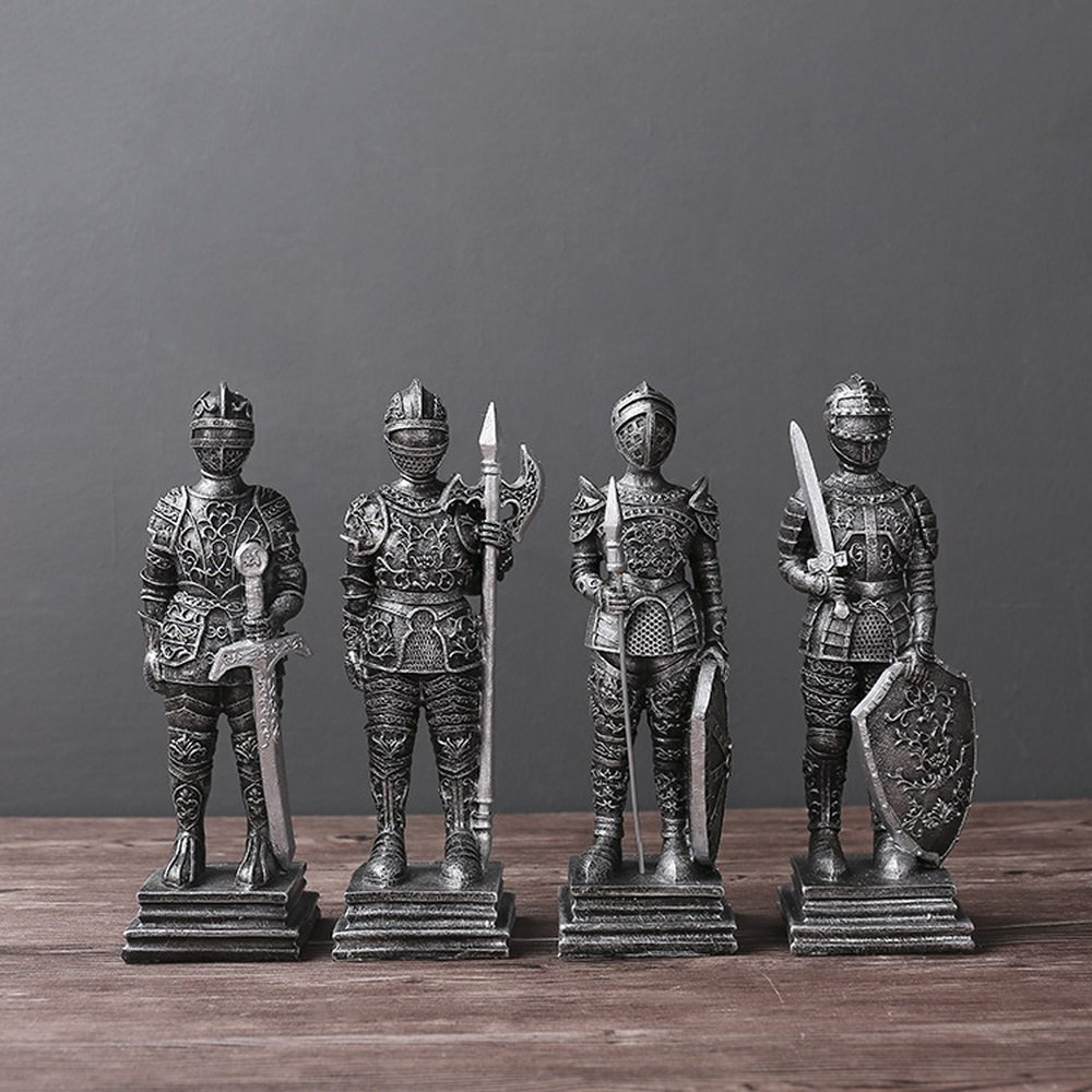 Bwlzsp 1 set (4) European retro creative Rome soldier warrior living room study restaurant TV cabinet window decoration LU710149 (Color : Silver)