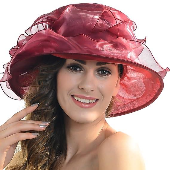 FORBUSITE Women s Organza Wedding Derby Dress Flat Hat SK035 (Burgundy) 640b77b81f47