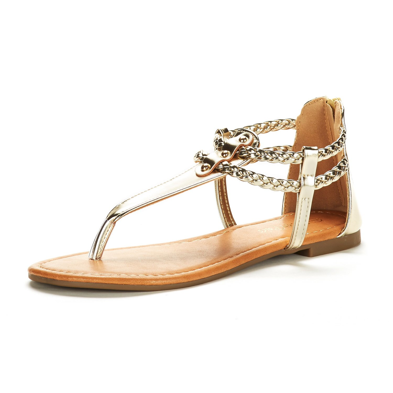 DREAM PAIRS Women's Maxi_02 Gold Fashion Gladiator Design Ankle Strap Flat Sandals Size 9 M US