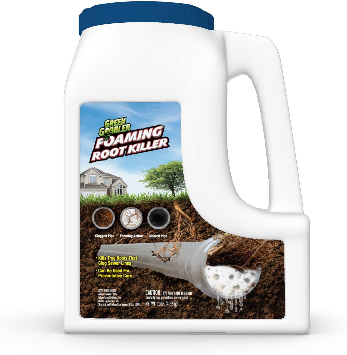 FOAMING Root Killer   Kills Tree Roots in Pipes & Sewer Lines   Contains No Copper Sulfate … (10 lb Jug): Health & Personal Care