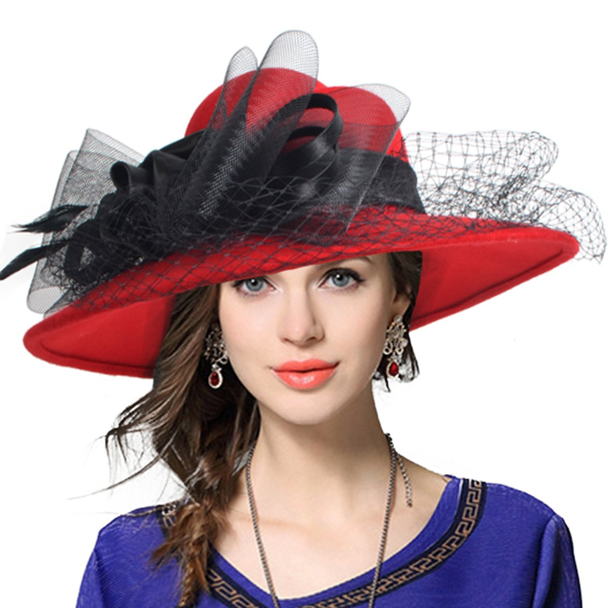 VECRY Women's Fascinator Wool Felt Hat Cocktail Party Wedding Fedora Hats (B-Red)