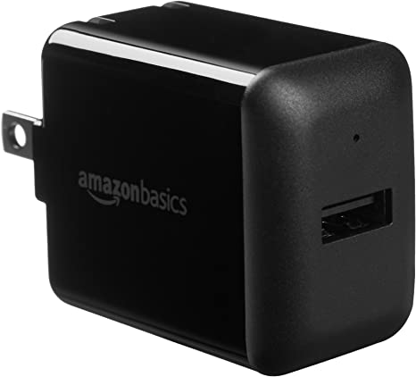 AmazonBasics One-Port USB Wall Charger for Phone, iPad, and Tablet, 12W - Black