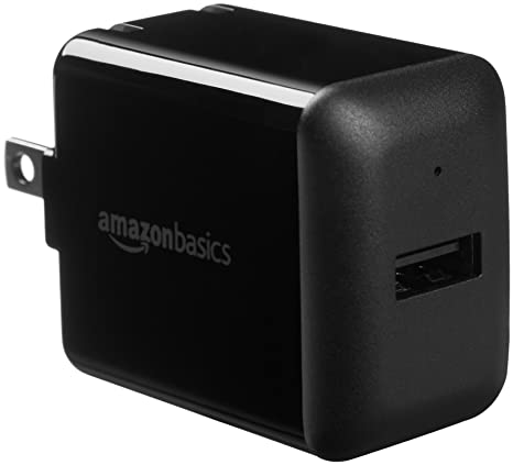 AmazonBasics One-Port USB Wall Charger for Phone, iPad, and Tablet, 2.4 Amp, Black