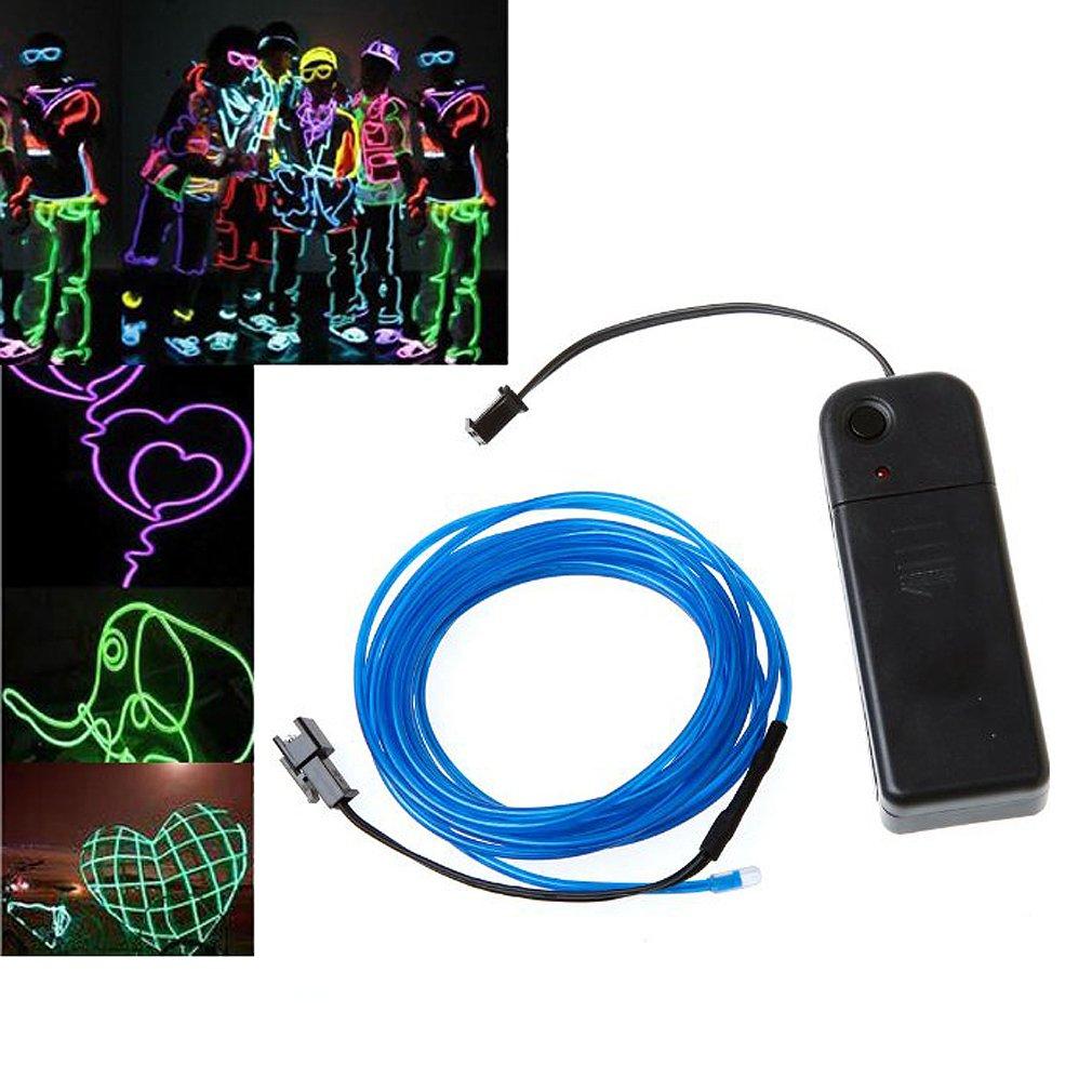 Blau Lichtschnur Leuchtschnur Leuchtdraht EL Neon Kabel: Amazon.de ...