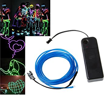 Amazon.com: TOOGOO(R) 3M Blue Flexible Neon Light EL Wire Rope ...