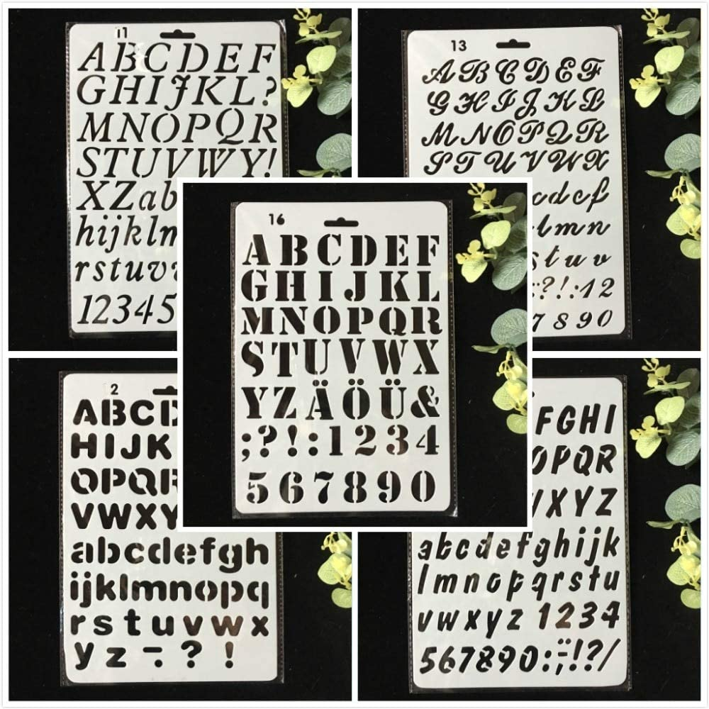 Letter Alphabet Number Layering Stencils Wall Painting Scrapbooking DIY Decor