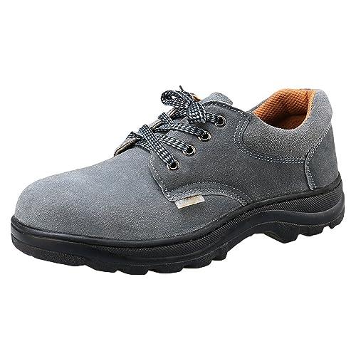 NiSeng Hombres Zapatos de Seguridad para construccion Botas Trabajo Invierno Zapatos Proteccion Laboral # Gris 45