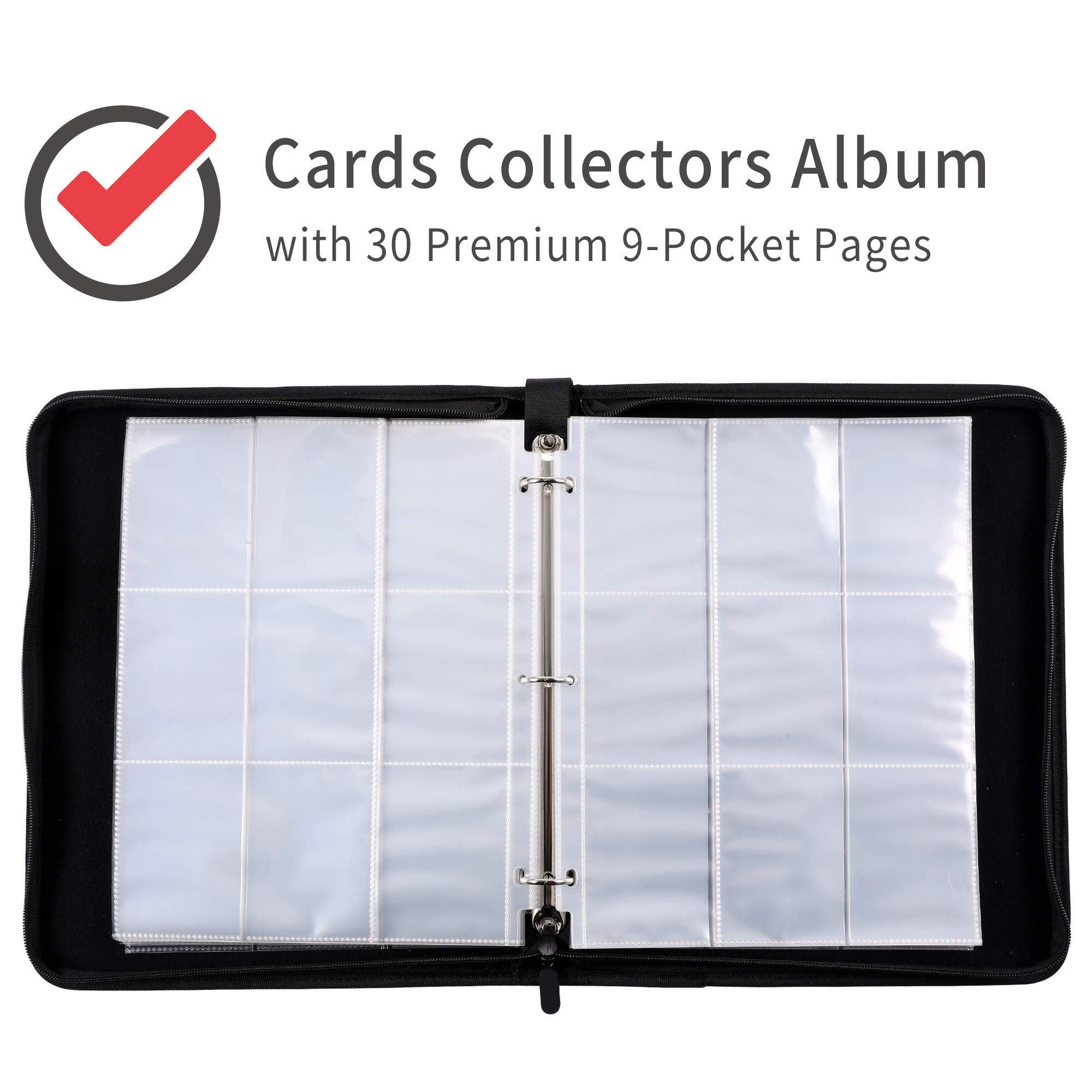 D DACCKIT Carrying Case Compatible with Pokemon Trading Cards, Cards Collectors Album with 30 Premium 9-Pocket Pages, Holds Up to 540 Cards(Red and White Version) by D DACCKIT (Image #4)