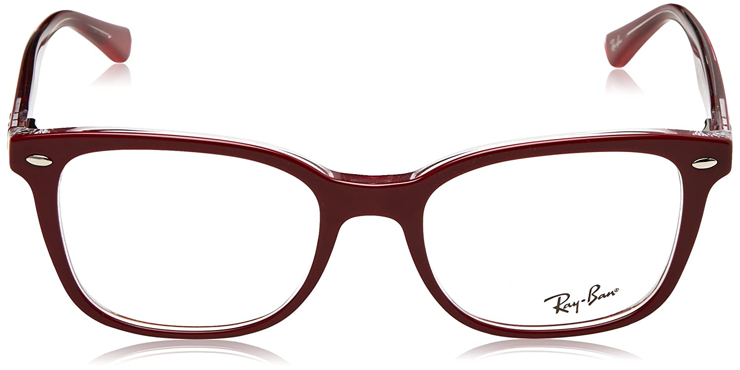 0fd7d8a06f1 Amazon.com  Ray-Ban 0rx5285 No Polarization Square Prescription Eyewear  Frame Top Bordeaux on Transparent 53 mm  Clothing