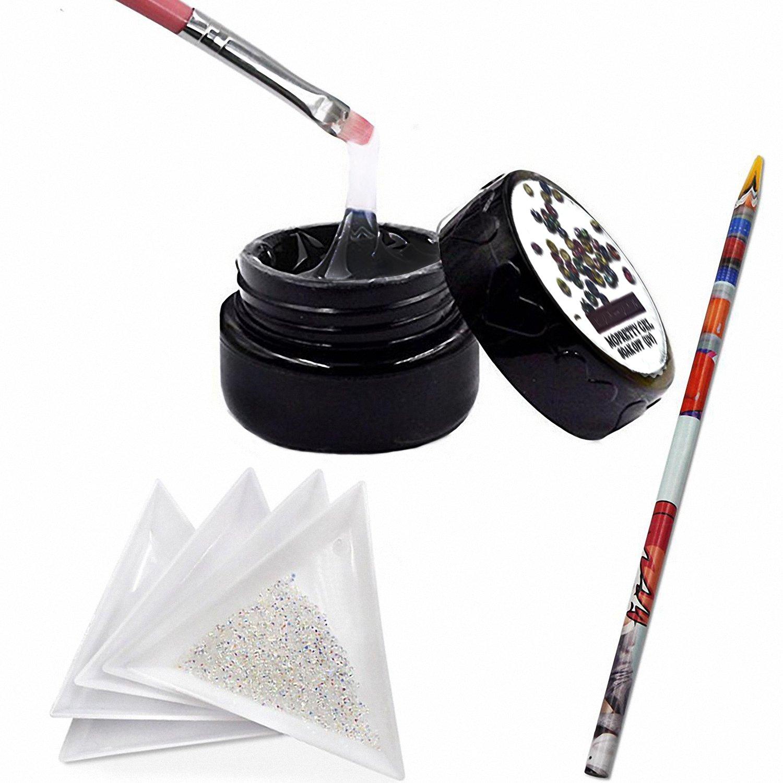 MOPRETTY Nail Art Sticker And 1440Pcs Mini Diamond Shining DIY Rhinestones with 5 Pcs White Triangular Plate Container + 1Pc Wax Pen +1Pc Painting Pen