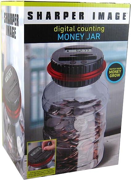 SHARPER IMAGE Digital Counting Money Jar Piggy Bank w//LCD Display NIB MSP $19.99