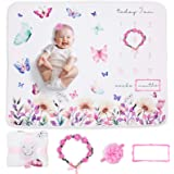 """MomsWish"" Milestone Blanket | Cherish Each Moment with This Baby Girl Milestone Blanket with Props, Warm and Snuggly Baby Mi"