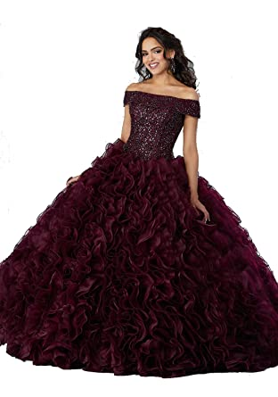 35a66cdc726 WanXiao 2019 Ball Gown Quinceanera Dresses Layer Lace Up Prom Dress for  Women at Amazon Women s Clothing store
