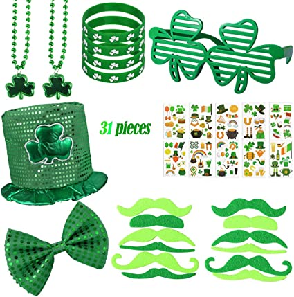 and St Patrick/'s clover head buckle 4-piece set of St St St Patricks Irish party supplies shamrock hat glasses Patrick earrings party decorations Irish green bead necklace Patrick/'s Day decorations