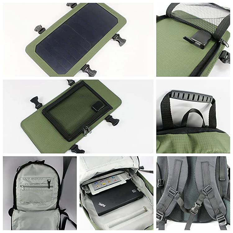 ECEEN Solar Backpack, 7 Walls Solar Panel Charge for Smart Cell Phones and Tablets, GPS, eReaders