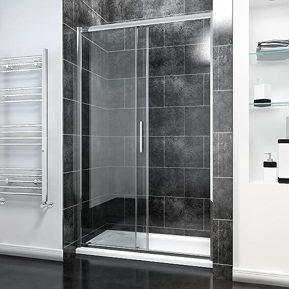 Puerta corredera de ducha de 1200 mm para baño moderno de 8 mm de fácil limpieza: Amazon.es: Bricolaje y herramientas