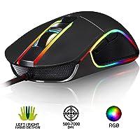KLIM AIM Souris de Jeu Chroma RGB USB Filaire - 500-7000 DPI Ajustables - Boutons Programmables - Confortable pour Toute Taille de Main - Ambidextre Excellent Grip Gamer Gaming PC PS4 Xbox One - Noir