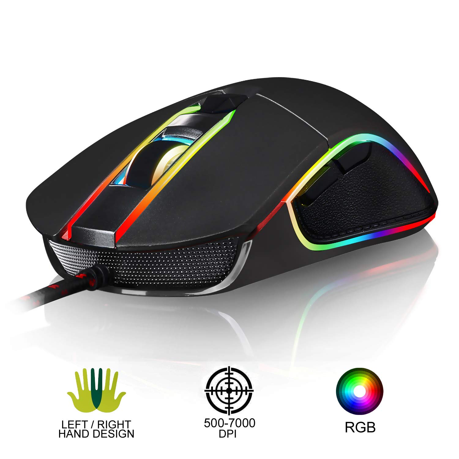KLIM AIM Gaming Mouse – Wired Ergonomic Gamer USB Computer Mice, Chroma RGB Mouse 7000 DPI Programmable Buttons Ambidextrous, Ergonomic for Desktop PC Laptop, High Precision Optical Laser Black