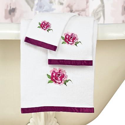 Bonita Colorido Flores Juego de toallas con ribete de satén, conjunto de 3 – incluye