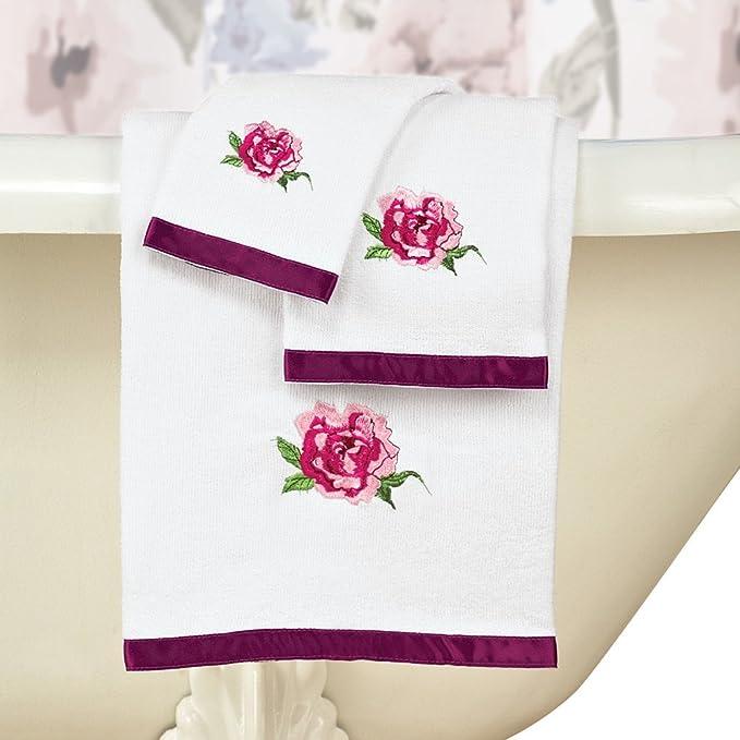 Bonita Colorido Flores Juego de toallas con ribete de satén, conjunto de 3 - incluye toalla de baño, toalla de mano, manopla, color blanco: Amazon.es: Hogar