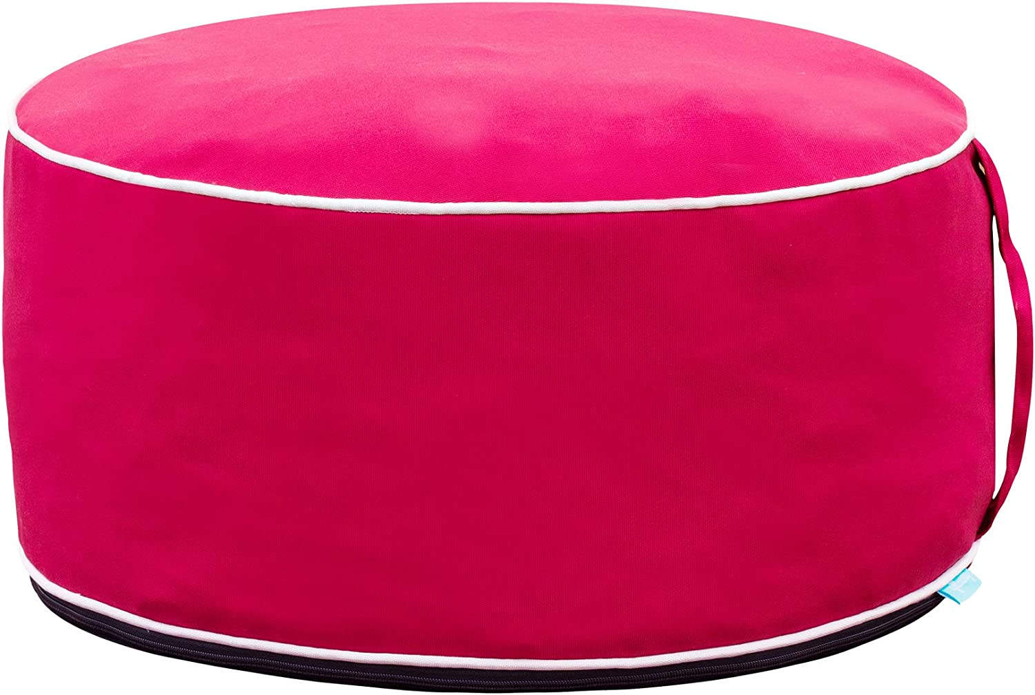QILLOWAY Indoor/Outdoor Inflatable Stool,Round Ottoman, All Weather Foot Rest for Kids or Adults, Camping or Home (RED)…