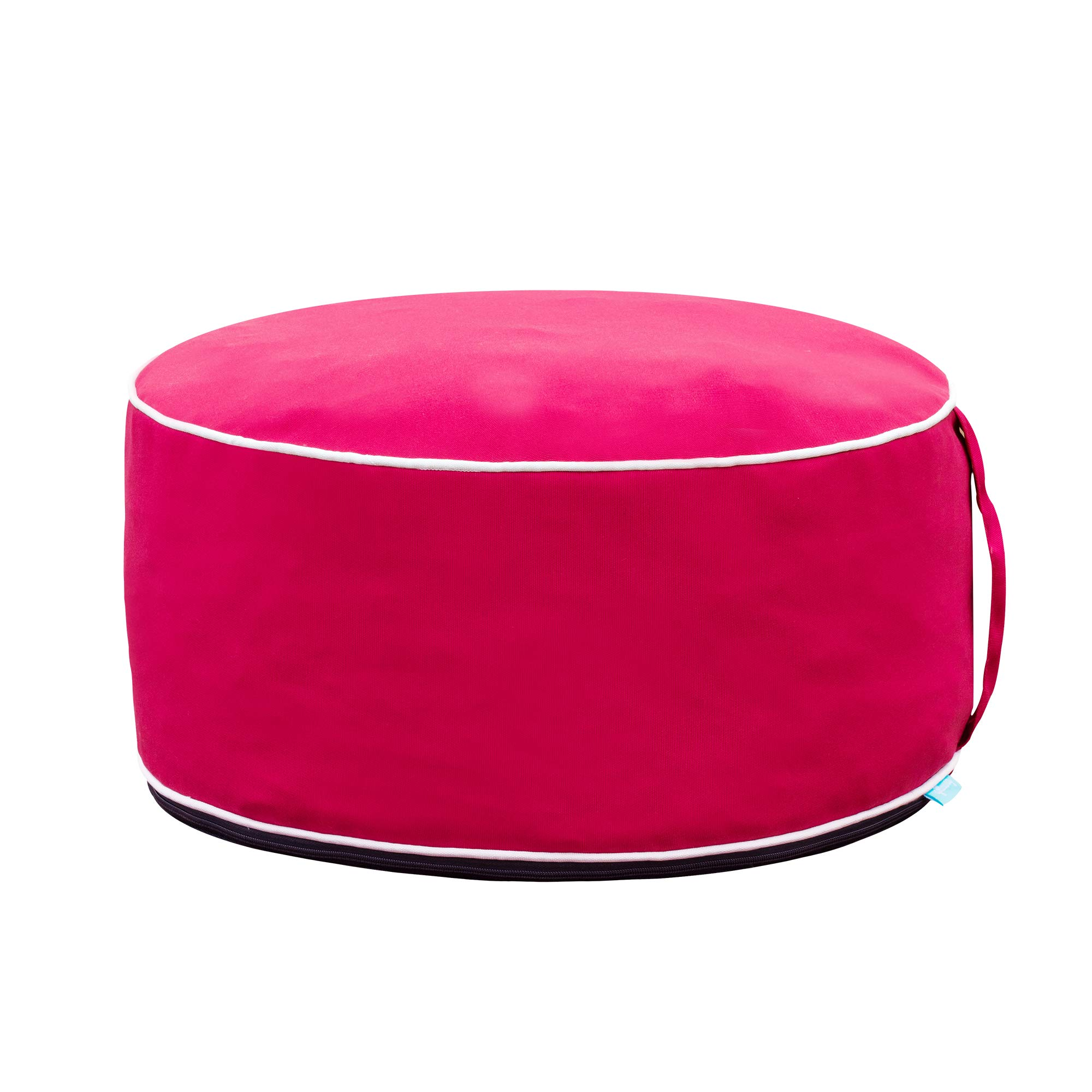 QILLOWAY Indoor/Outdoor Inflatable Stool,Round Ottoman,Foot Rest for Kids or Adults, Camping or Home (RED)