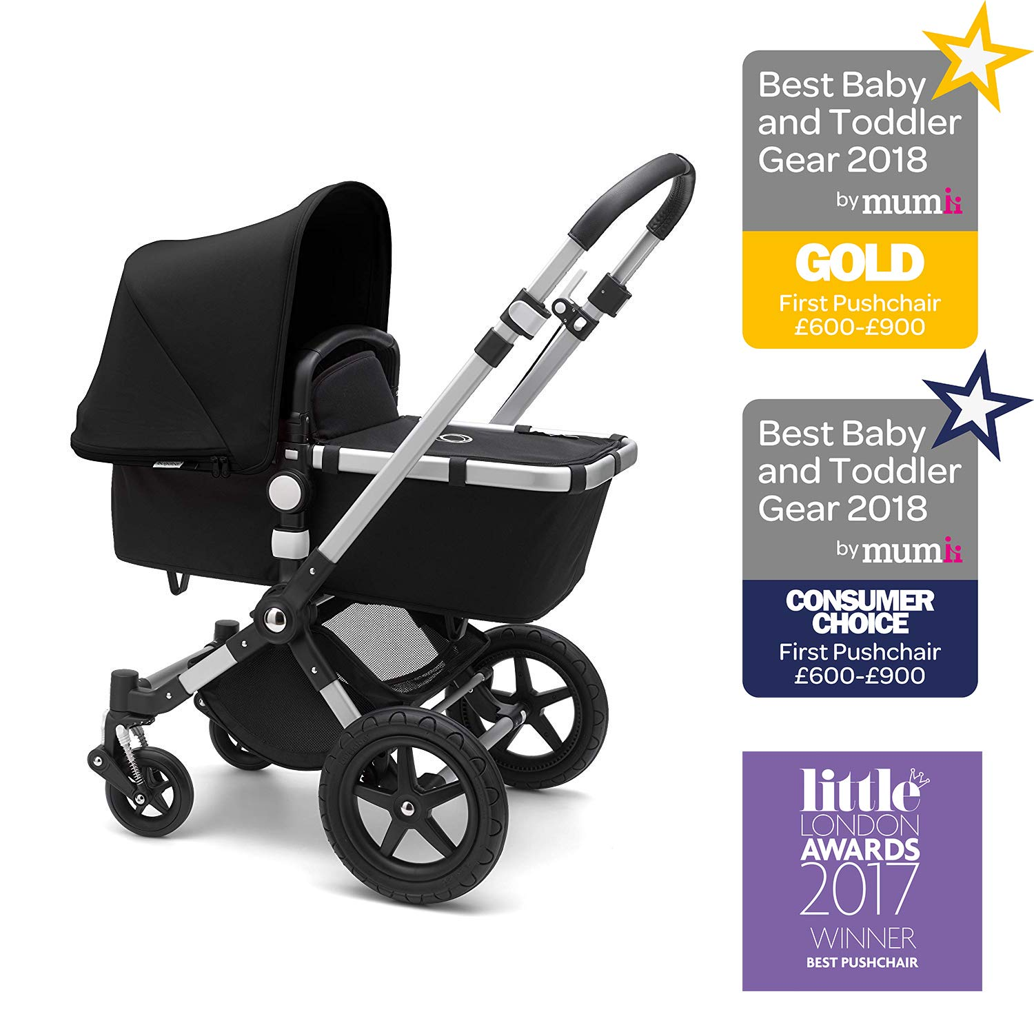 Bugaboo Cameleon 3 Plus 2 In 1 Pram And Pushchair With Reversible Handlebar Black