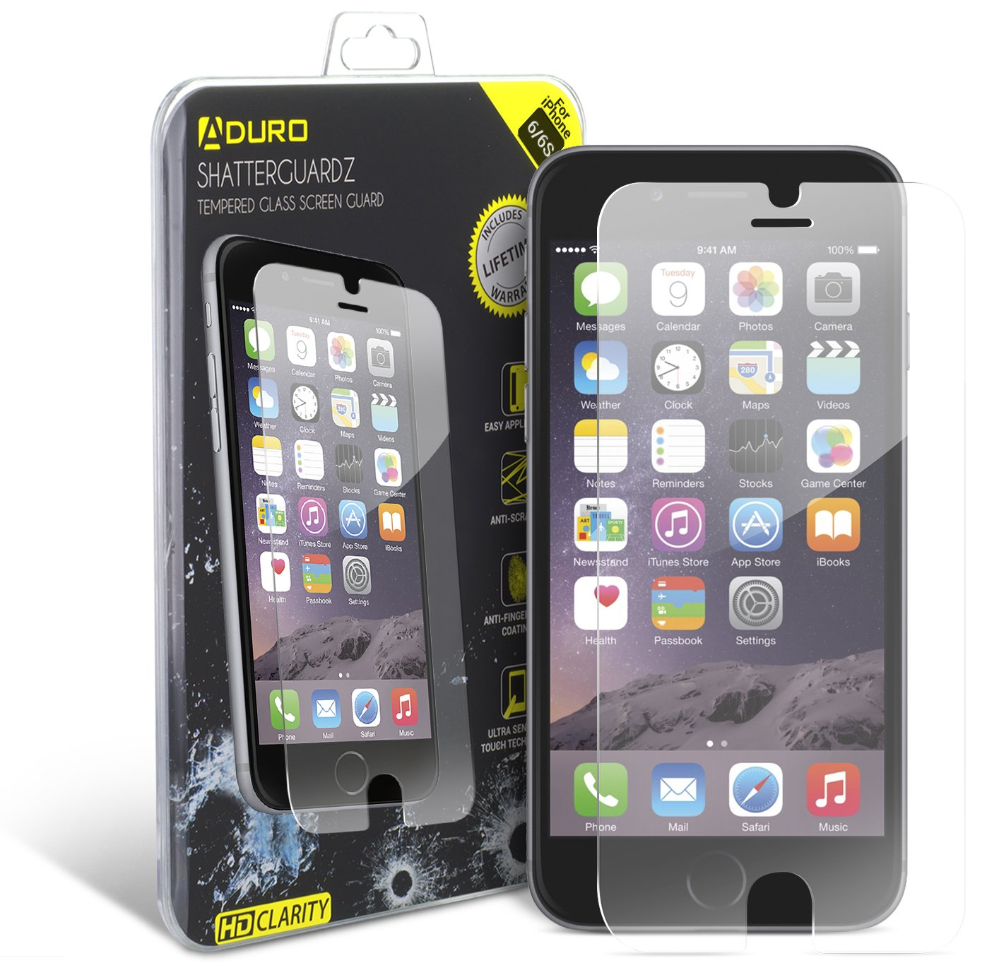 119eafb6421 Aduro iPhone 6   6S Tempered Glass Screen Protector Shatterguardz  Anti-Scratch