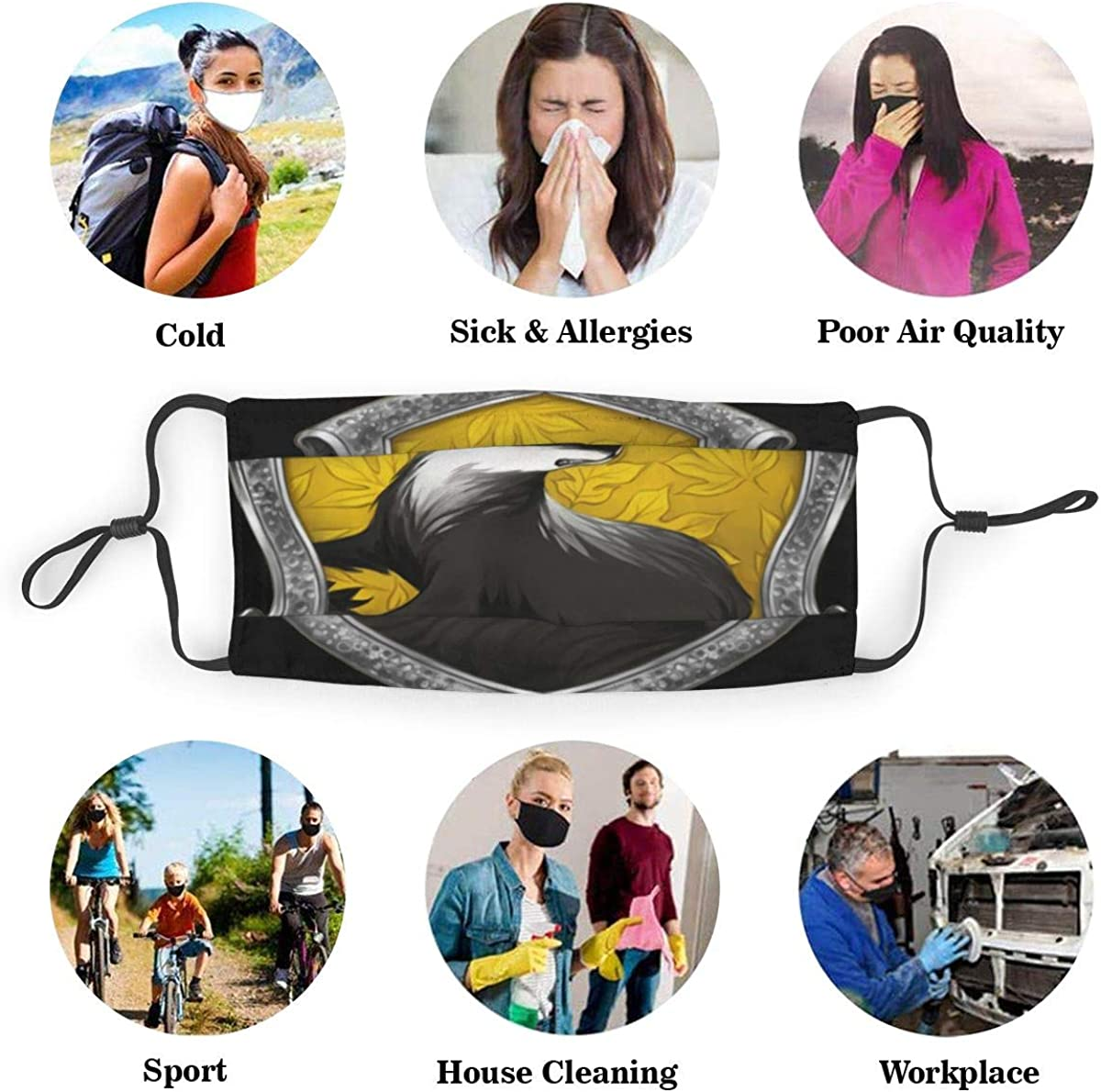 Traveling Harry Pot-TER Hog-Warts Huffl-Epuff Face Cover//Shield for Adult/&Kids Polyester Dust-Proof Waterproof Breathable Washable Reusable Outdoors for Running Climbing and Daily Use Medium Black