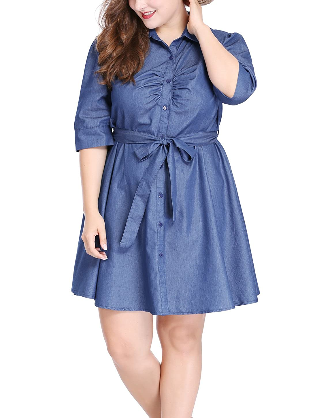 uxcell Agnes Orinda Womens Plus Size 1//2 Sleeves Belted Above Knee Denim Shirt Dress